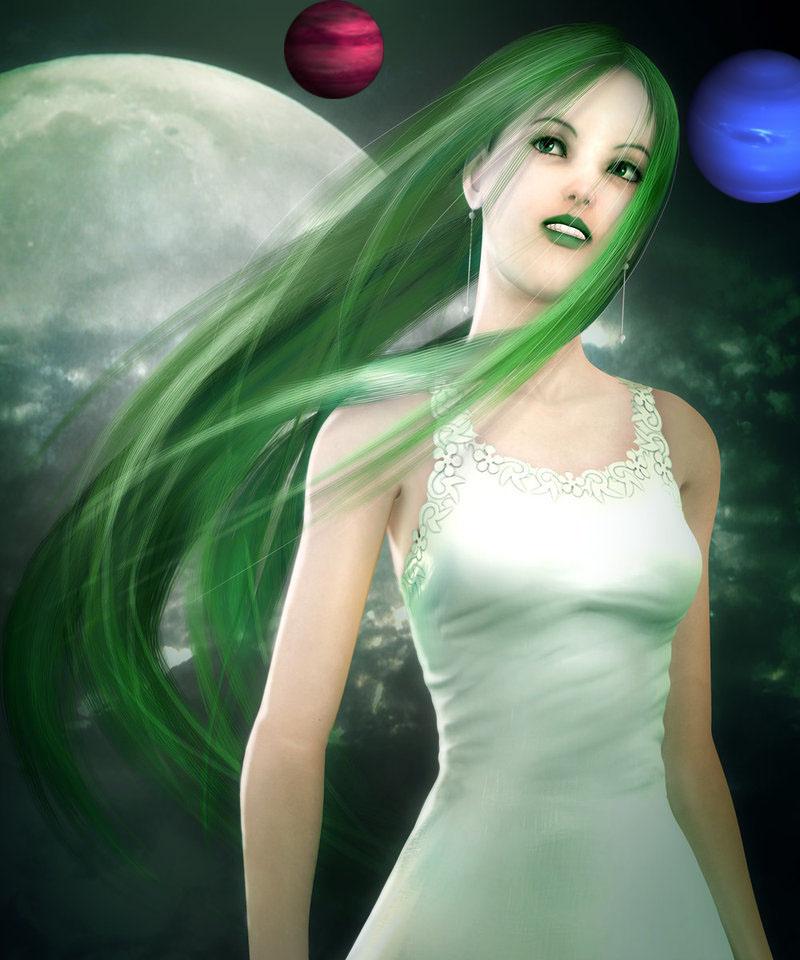 Jolie fille aux cheveux verts