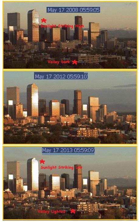 Affichage de l'ombre du soleil sur des buildings à Denver le même jour, à la même heure sur différentes années